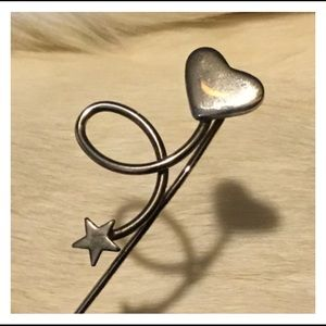 Vintage Silver Heart Star Stick Style Pin